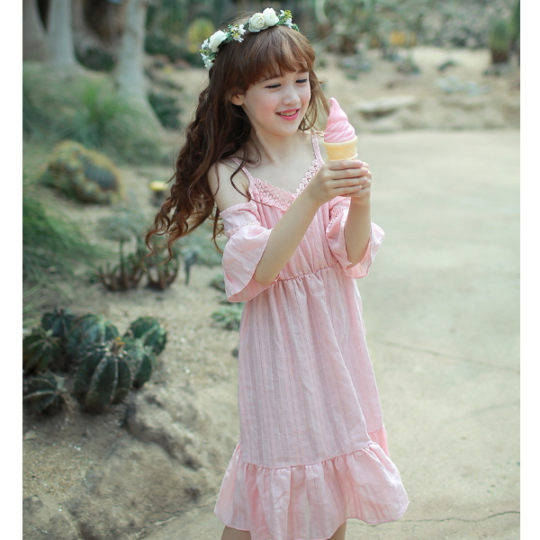 e5ac3c740509 MS61649K pure color short sleeve kids girls Korean maxi dress for baby