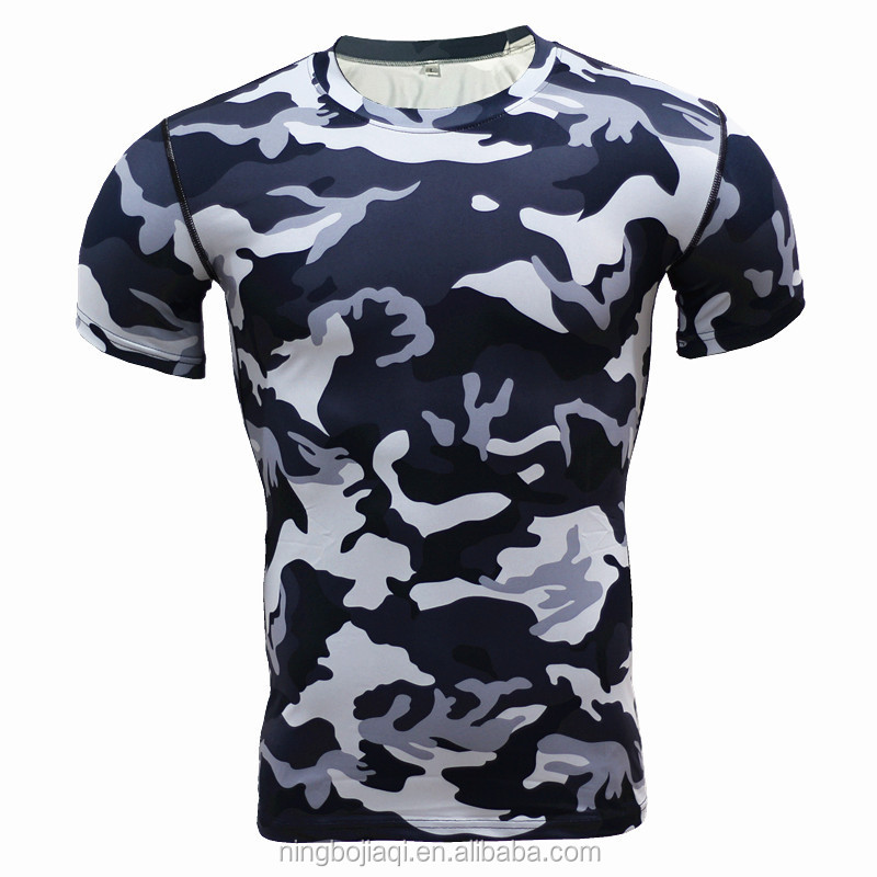 Short-sleeved tights men's sports cool outdoor camouflage clothing wrinkle Dried Basketball Running T - Shirt