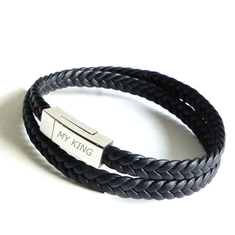 976412007fa0 Brand logo engraved men s flat leather men bracelets with magnetic clasp  mens personalized woven wrap leather