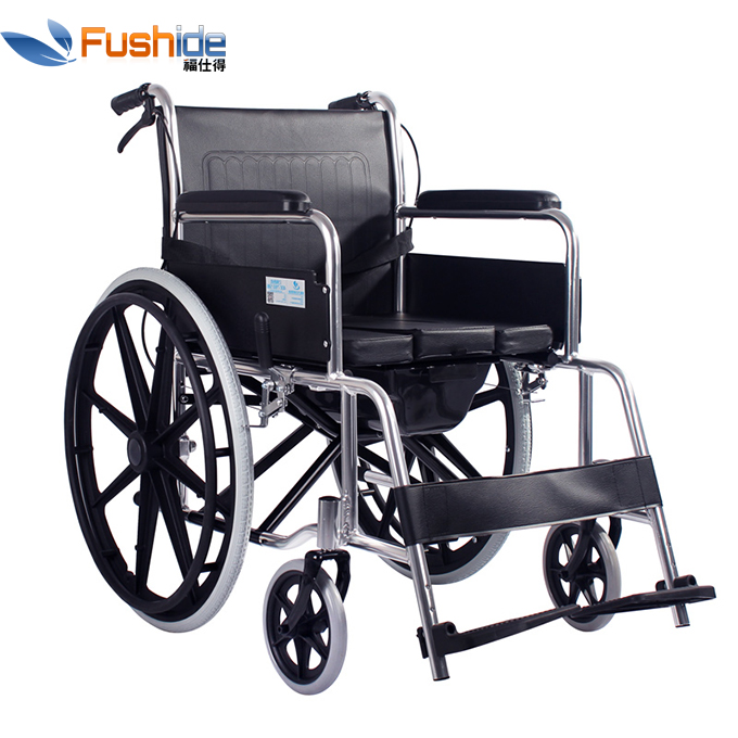High Quality Cheap Price Light Weight Aluminum Frame Folding Commode Wheelchair