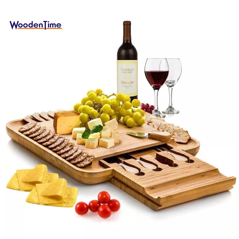 Wholesale natural kitchen high quality pizza cheese bamboo cutting board with 4 knives utensils tools set