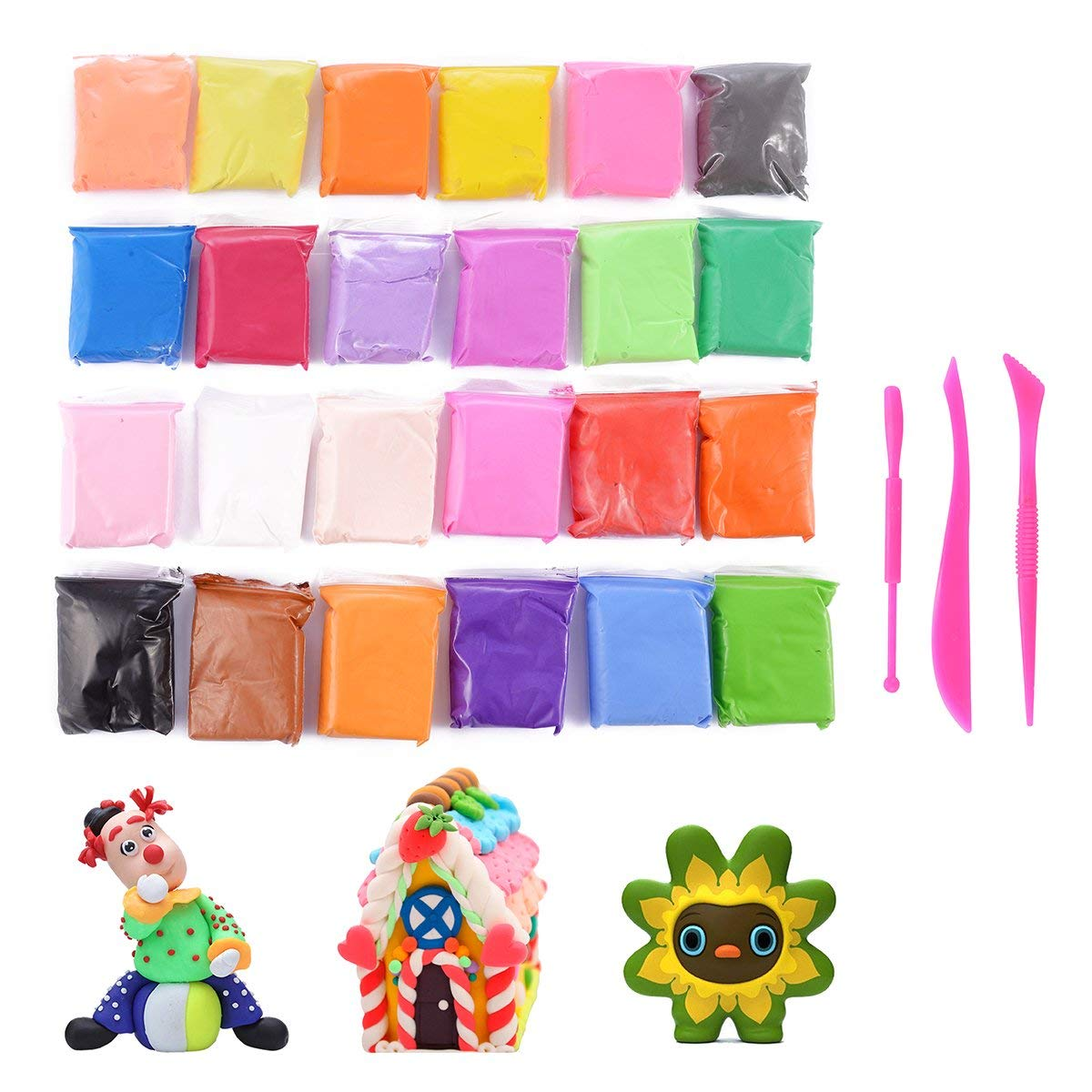 Air Dry Clay with Modeling Clay Tools, 24 PCS Bright Colors Kids Ultra Light Modeling Clay Magic Artist Studio Toy , No-Toxic Modeling Clay & Dough, Creative Art DIY Crafts
