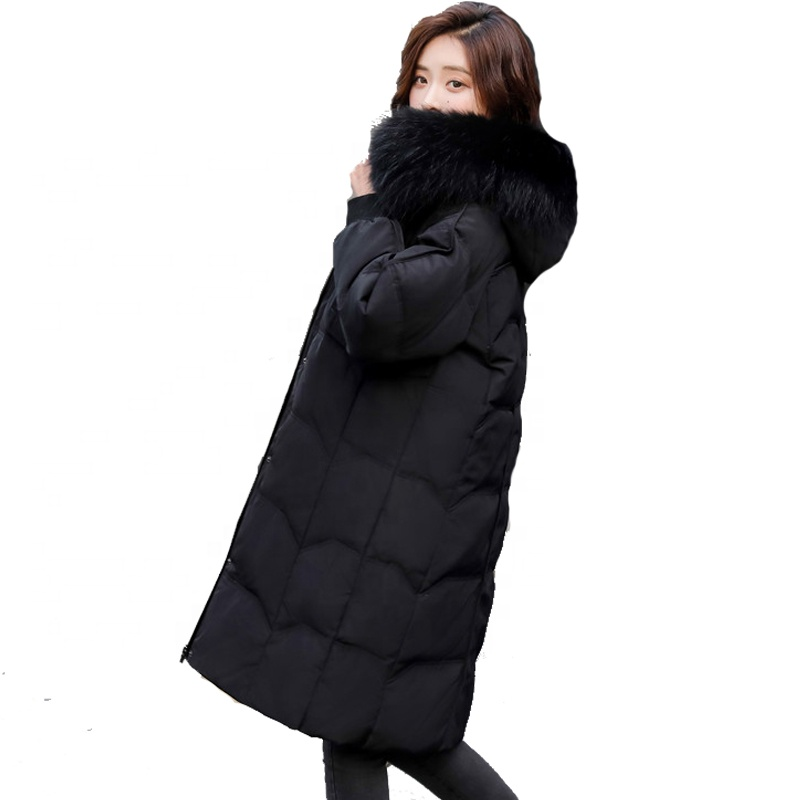 Alibaba.com / 2019 new fashion trend Long style korean loose thickened heavy hair collar women's genuine down jacket factory wholesale price