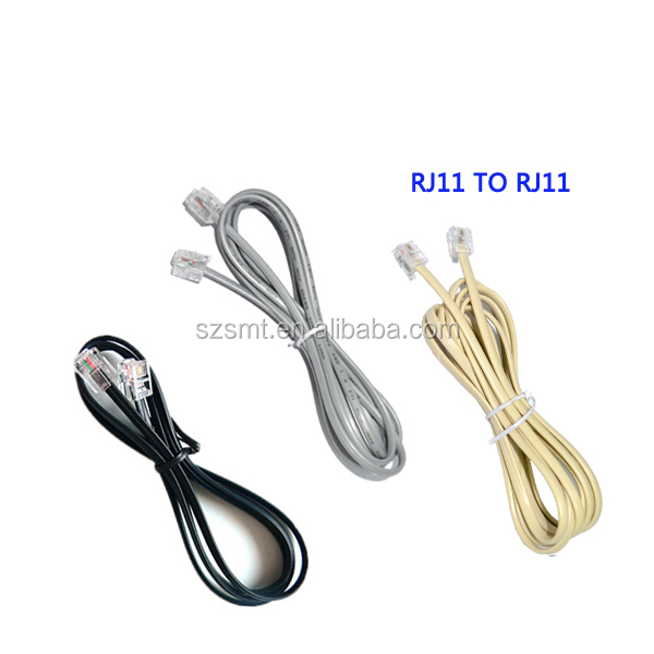 10ft 2core telephone line cord copper rj11 6p2c telephone cable