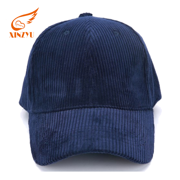 High Quality Fashion Blank Long Bill Low Profile 6 Panel Corduroy Baseball Cap