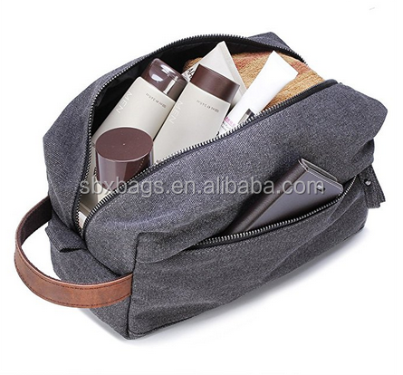 54fda0c87f Fashion Gray Travel Handy Canvas   Leather Men Toiletry Bag Travel Makeup  Cosmetic Organizer Toiletry Bag - Buy Canvas Travel Toiletry Bag