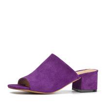 Женские шлепанцы Donna-in, шлепанцы из натуральной кожи на высоком каблуке с открытым носком, летние шлепанцы, Повседневная Дамская обувь, 2020(Китай)