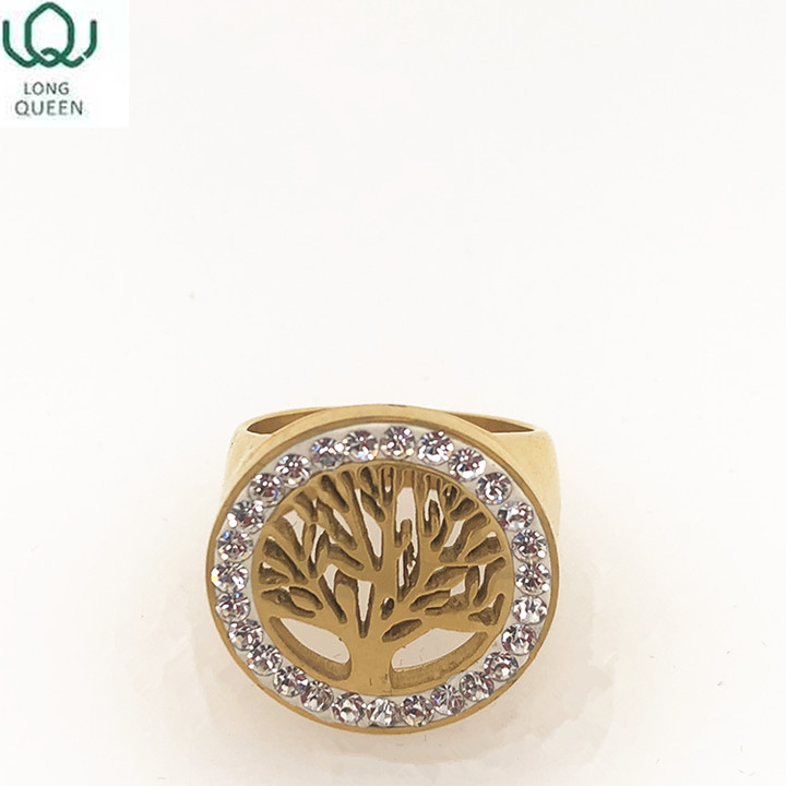 New stylish stainless steel female ring 925 rose gold non-fading rotating ring