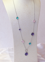 New Elegant Rhodium Plating Mix Color Obsidian Necklace