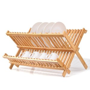 Dish Rack, 2-Tier Collapsible Dish Drying Rack Kitchen Utensil Holder