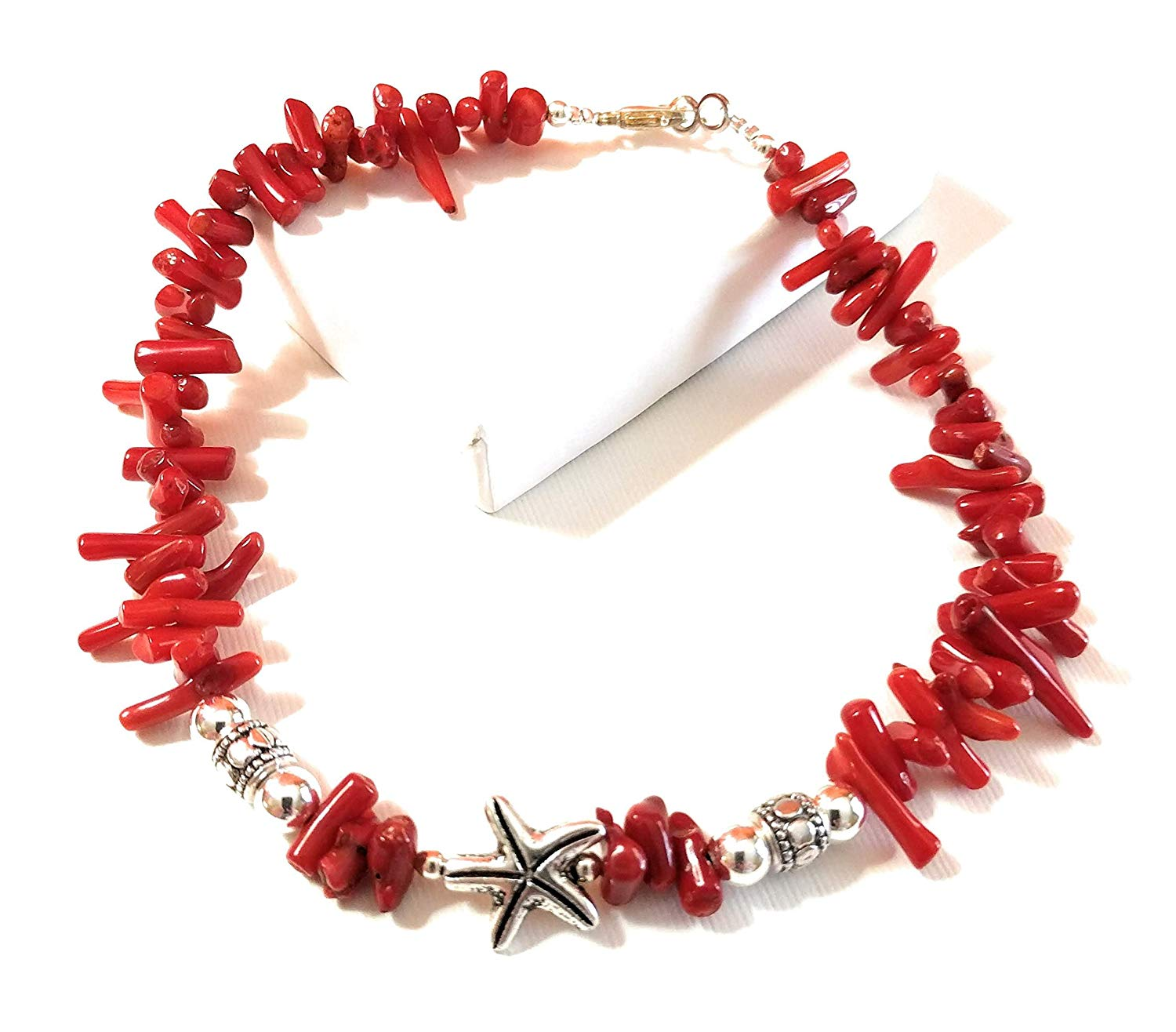 Red Coral Starfish Leather Anklet Large 11-Inch Beach Jewelry