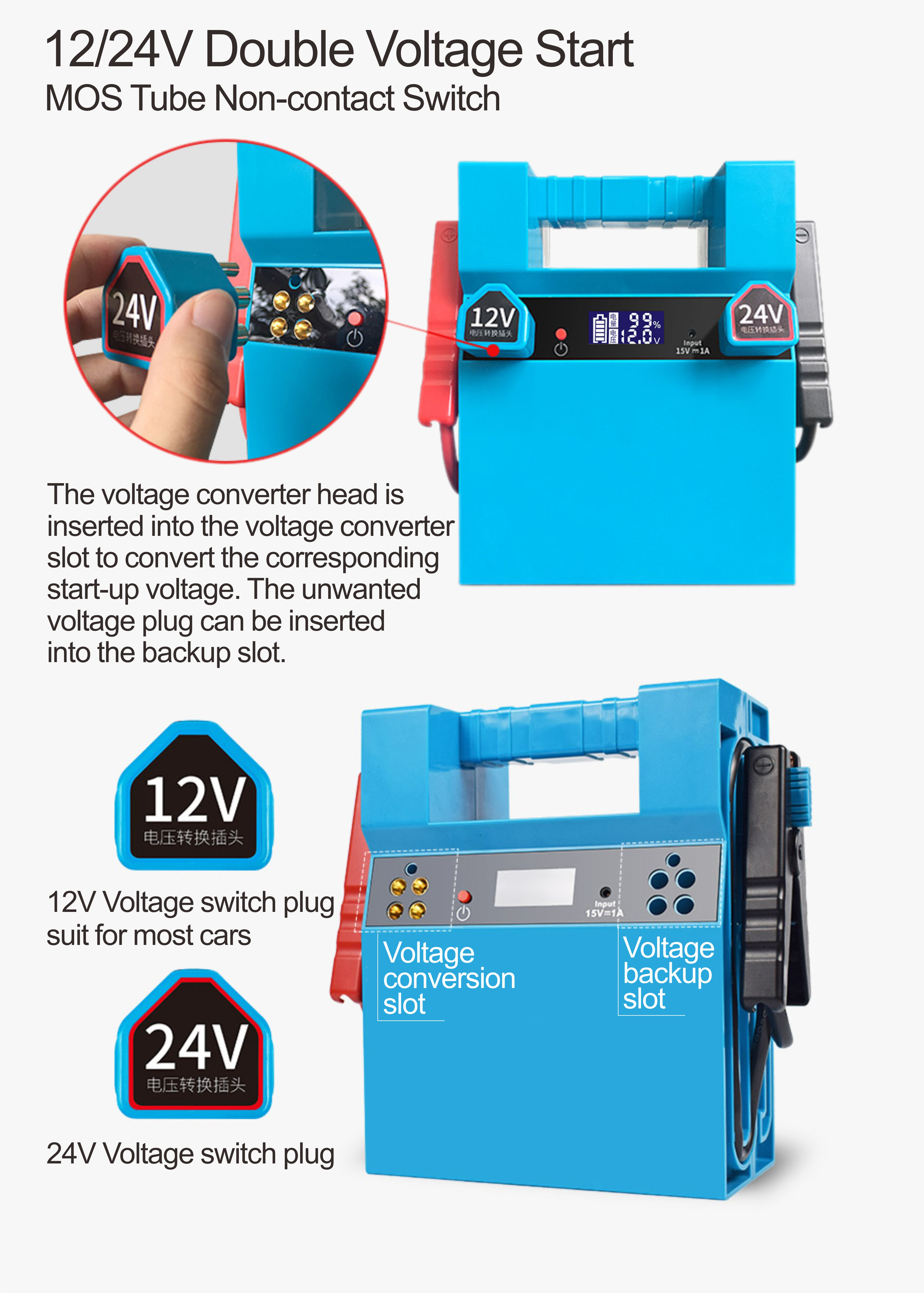 Portable and powerful 2600A peak current multi-function auto battery jump starter battery booster jump starter