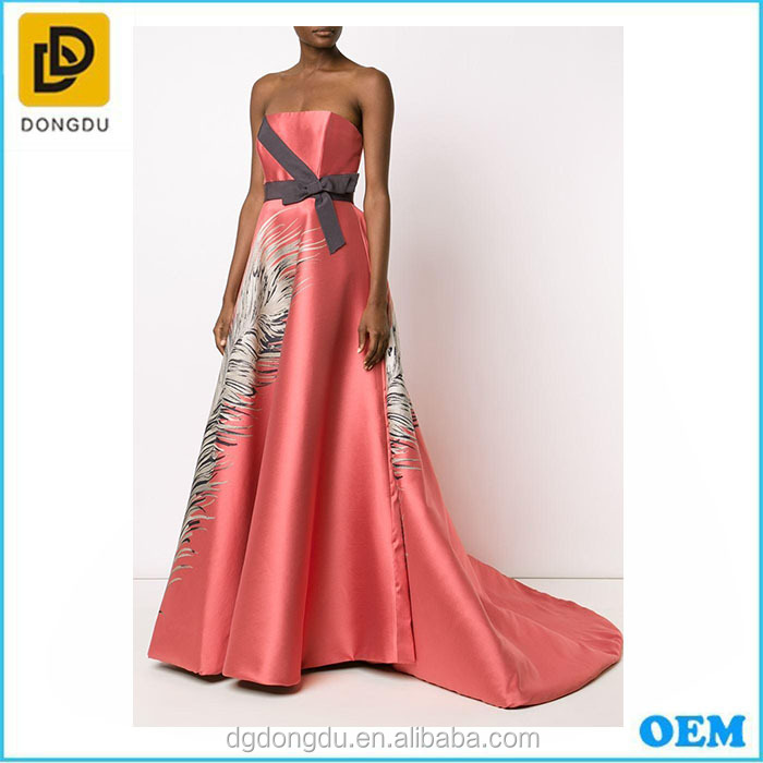 Fantastis Red Lady Dress Wanita Tanpa Lengan Gaun Pesta Formal Malam Panjang