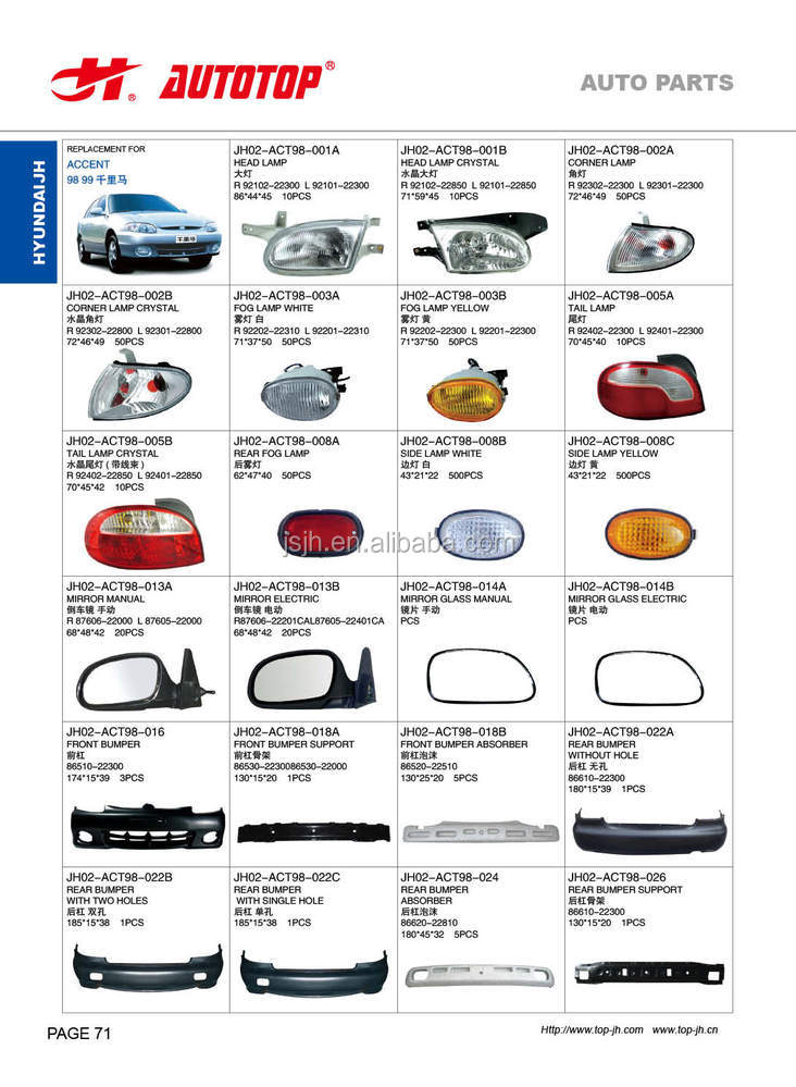 Hyundai Accent 98 Parts Suppliers And Manufacturers At Alibaba