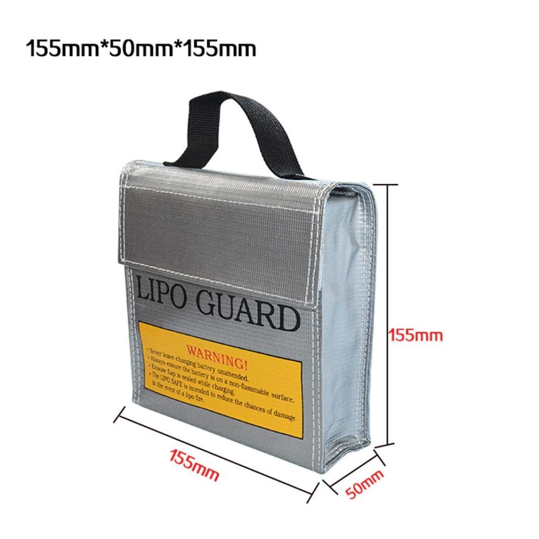Gbell Li-Po Battery Fireproof Blast-proof Safety Cover Storage Case - Lithium Battery Guard Safe Bag 155×50×155MM (Silver)