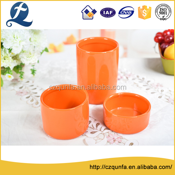 Qunfa factory wholesale stoneware colorful kitchen canister set
