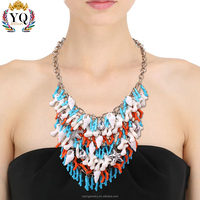 NYQ-00541 2017 new design fashion bohemian beach natural sea snail conch and coral handmade lariat statement necklace