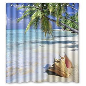 """66""""(Width) x 72""""(Height) Tropical Paradise Ocean Beach with Palm Trees Theme Design 100% Polyester Bathroom Shower Curtain Shower Rings Included -Best Visual Enjoyment For You"""