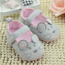 Cute Baby Girls First walkers Cotton Grey Cartoon Mouse Soft with Pattern Shading Soft Sole Baby