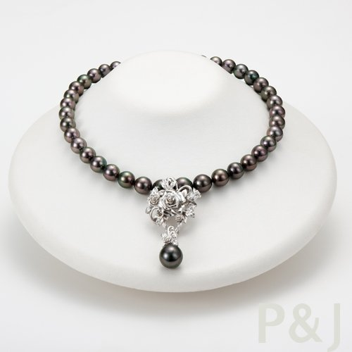 54ccf550f Tahitian Black Pearl Necklace With Flower Design Pendant Top - Buy ...
