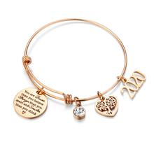 Women Inspiration Jewelry Silver Gold Plated Heart Stainless Steel Charm Bracelet Expandable Adjustable Wire Bangle Bracelet
