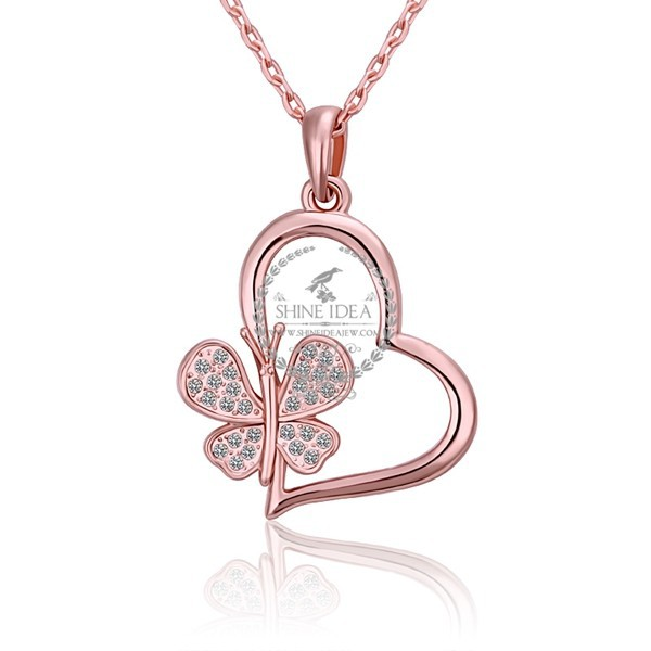 18KGP rose gold plated rhinestone filigree Austria crystal elements women butterfly heart pendant charm necklace fashion jewelry