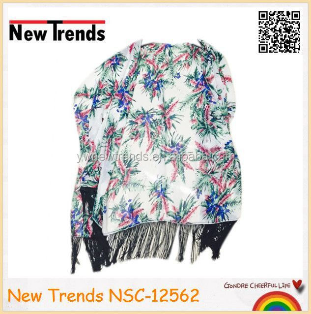 Chiffon tropical palm and floral printing kimono shawl with black tassels