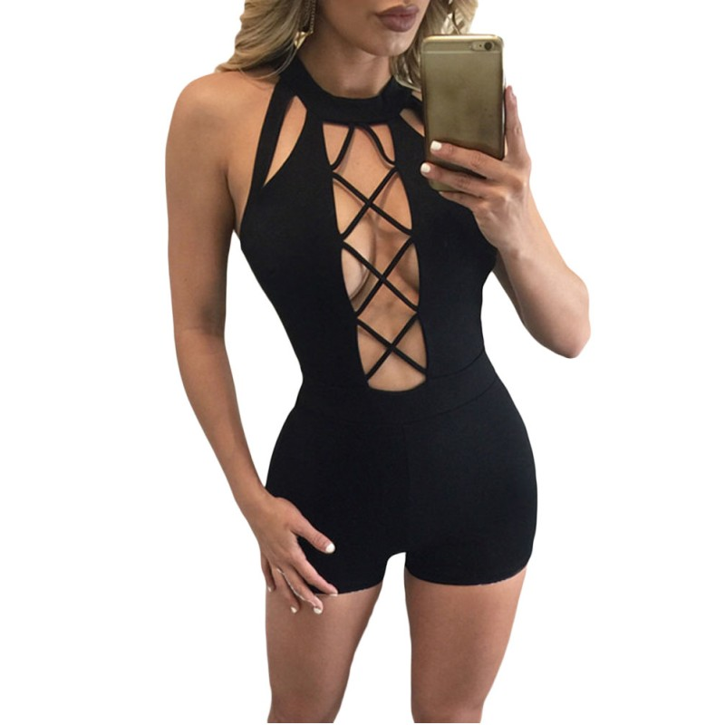 new arrival sey skinny bodycon playsuit rompers macacao female Black Baby Doll Short Stretchy Jumpsuits Women Romper 064072 on