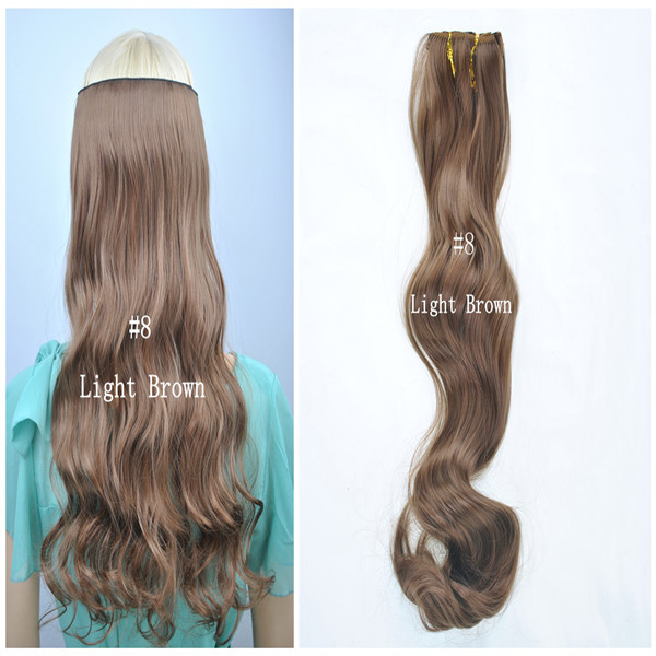 "Synthetic Wavy Clip In Hair One Piece Only 20""100g 22""100g Color: #8 Light Brown Free Shipping High Temperature Resistance"