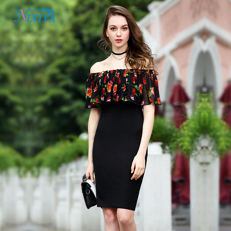 Off shoulder latest design printed frill layered casual tube dress 2018 for  girl