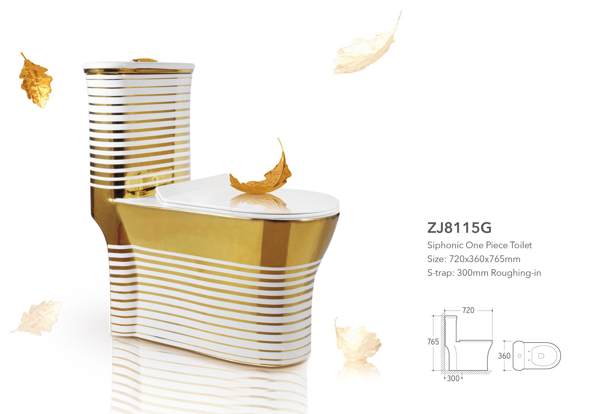 ZJ8115G hot sale Chaozhou bathroom sanitary ware Middle East gold color washdown one piece china ceramic