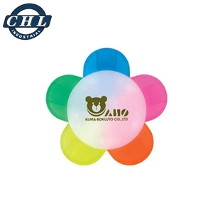 Wholesale highlighter pens multifunctional fancy color 5 in 1 flower highlighter marker pen