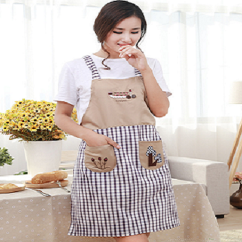 cute apron dress with pockets cafe kitchen with checked printing and patterns for female with competitive price