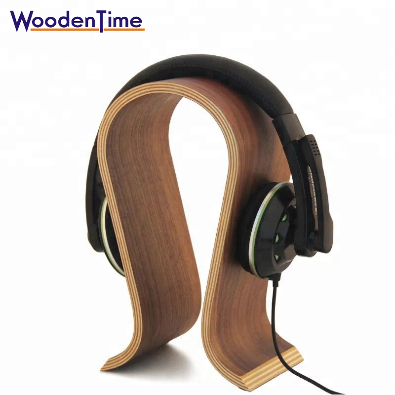 Woodentime manufacturer <strong>stand</strong> for headphone U shape special wooden display <strong>stand</strong> luxury wood headphone <strong>stand</strong> with Non-slip mat
