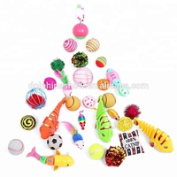 Amazon Hot Sale Pet Toys Set Cat Assorted Crinkle Balls Feather Mice Clockwork Fish Teaser Wand For Kitty Cat Toys