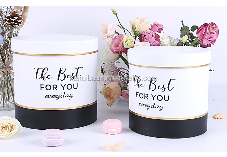Stock Custom Luxury Rose Candy Round Paper Flower Box Gift Box With Packaging Round Hat