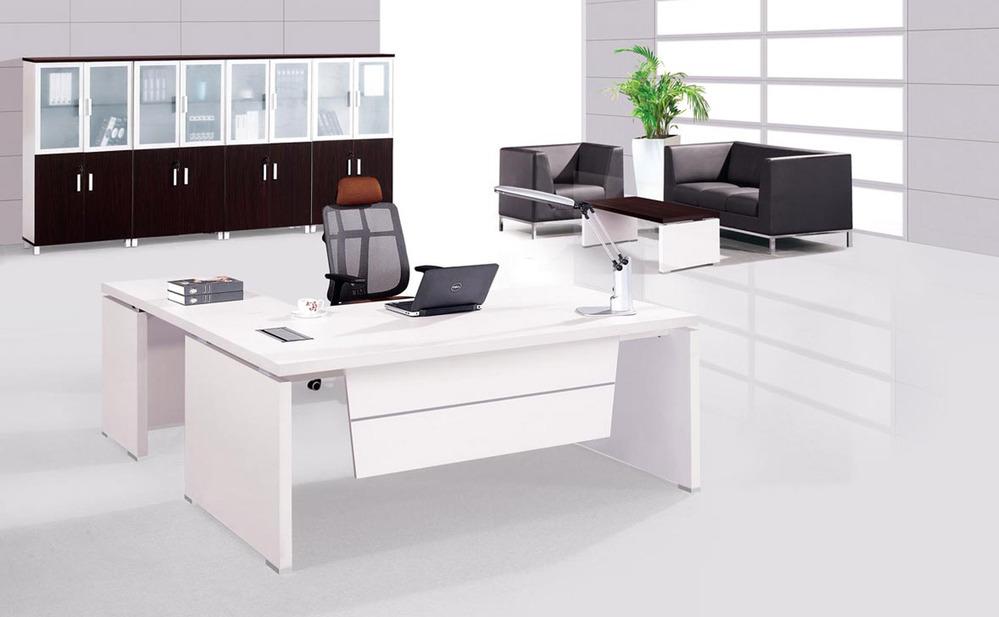 White Italian Style High Tech Director Table Wood Desk