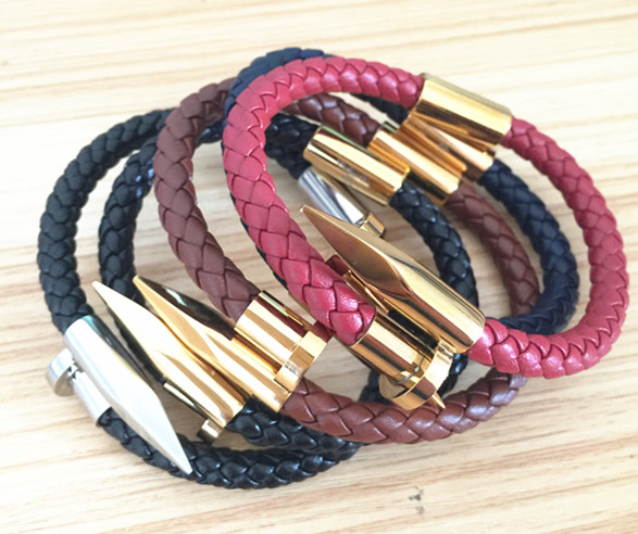 Latest design stainles steel jewelry genuine leather nail bracelet for men <strong>accessories</strong>