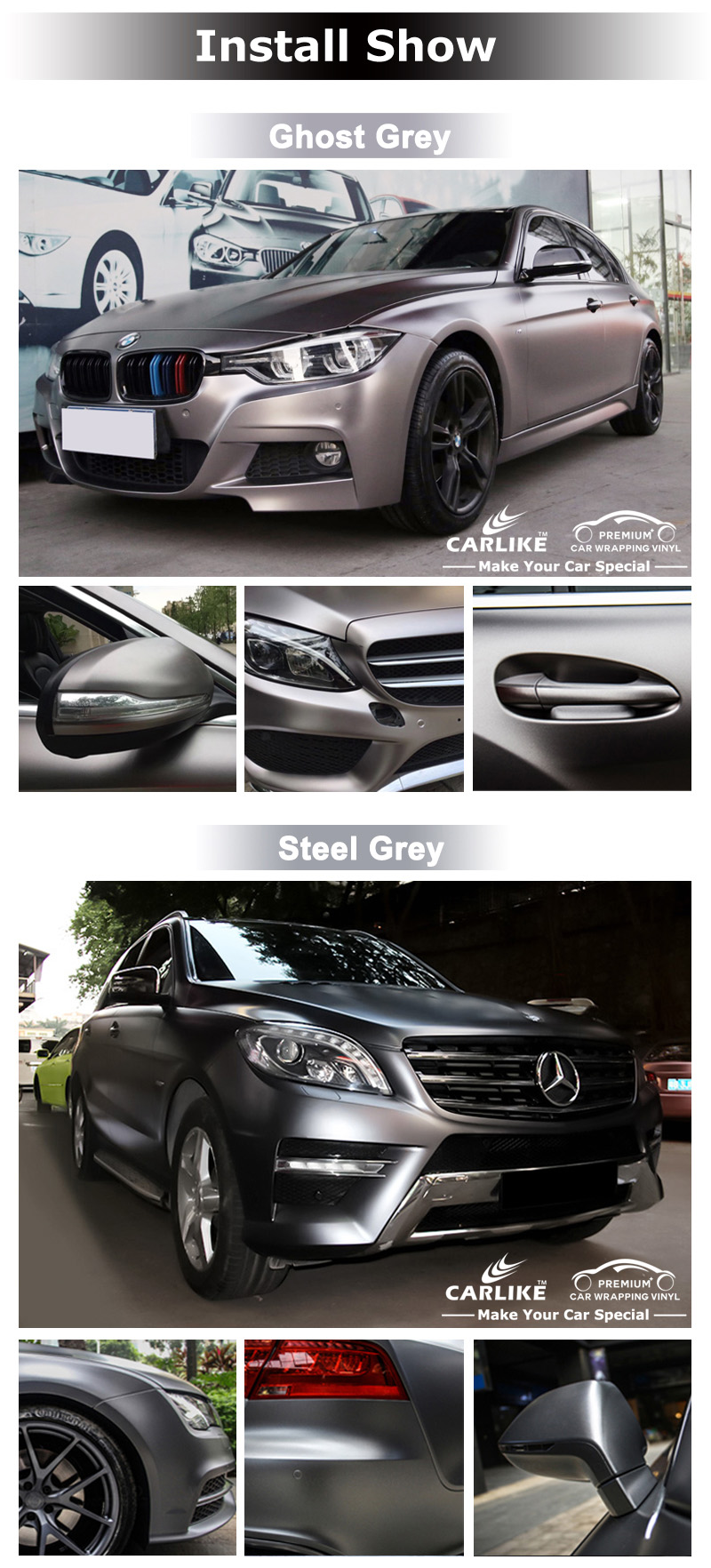 CARLIKE  Guarantee 3 Years Metallic Matt Chrome Car Wrap Vinyl