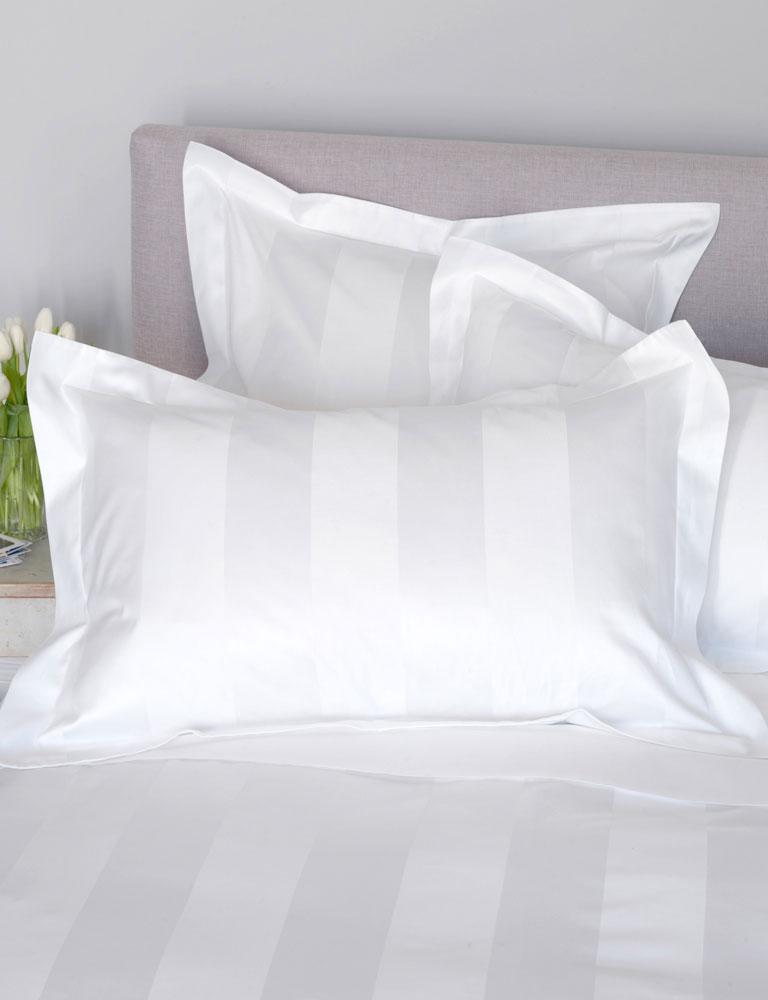 300tc Stripe Sa Bed Linen White Cotton Sheets Hotel