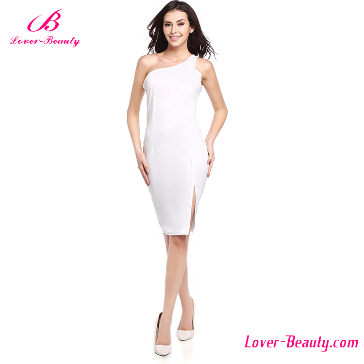 Factory Price One Shoulder White Sexy Bodycon Women Dress