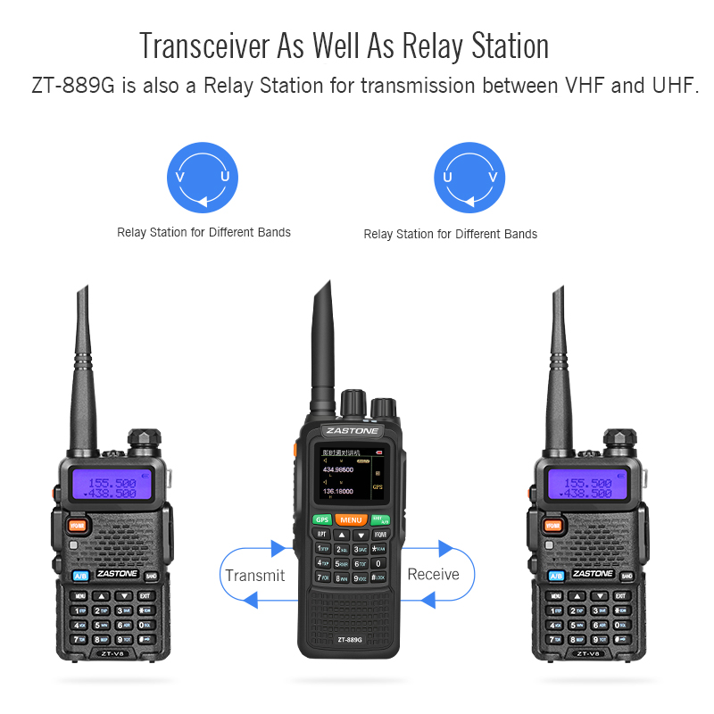 Dual band Zastone ZT-889G two way radio GPS walkie tlakie 10w transceiver