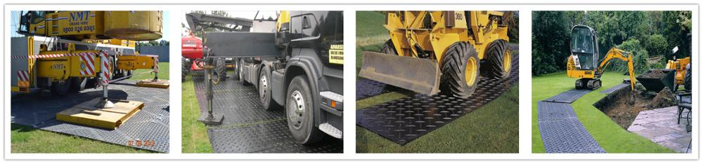 black surface thread pattern UHMWPE plastic temporary protection road mat