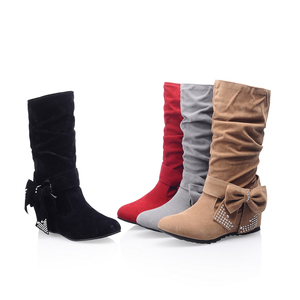 Hot Sale Nubuck Leather Winter Walking Elevator Boots Women Ladies Shoes China Half Boots for Girls