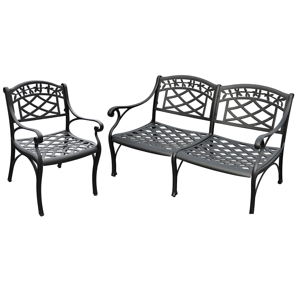 Crosley Furniture Sedona 2-Piece Solid-Cast Aluminum Outdoor Conversation Set with Loveseat and Club Chair - Black