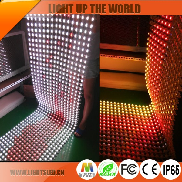 p25 Flexible led curtain display good glass transparent curtain video led display