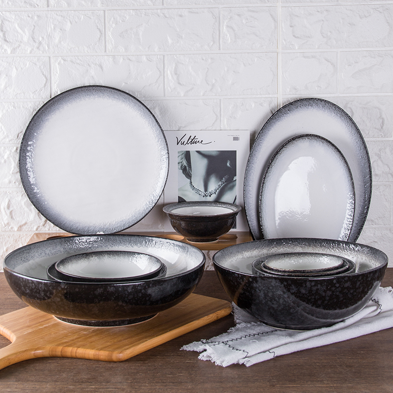 Matt Ceramic <strong>Plates</strong> Gradually changing color Black Ceramic Tableware serving bowl dish <strong>plate</strong> set
