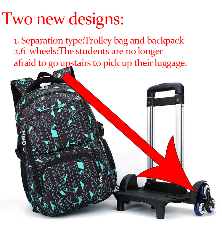 5c1994808e Hot sale high quality kids travel trolley bag with new design-six wheels  Upstairs is