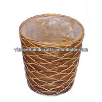Country round bamboo waste/litter basket with plastic liner