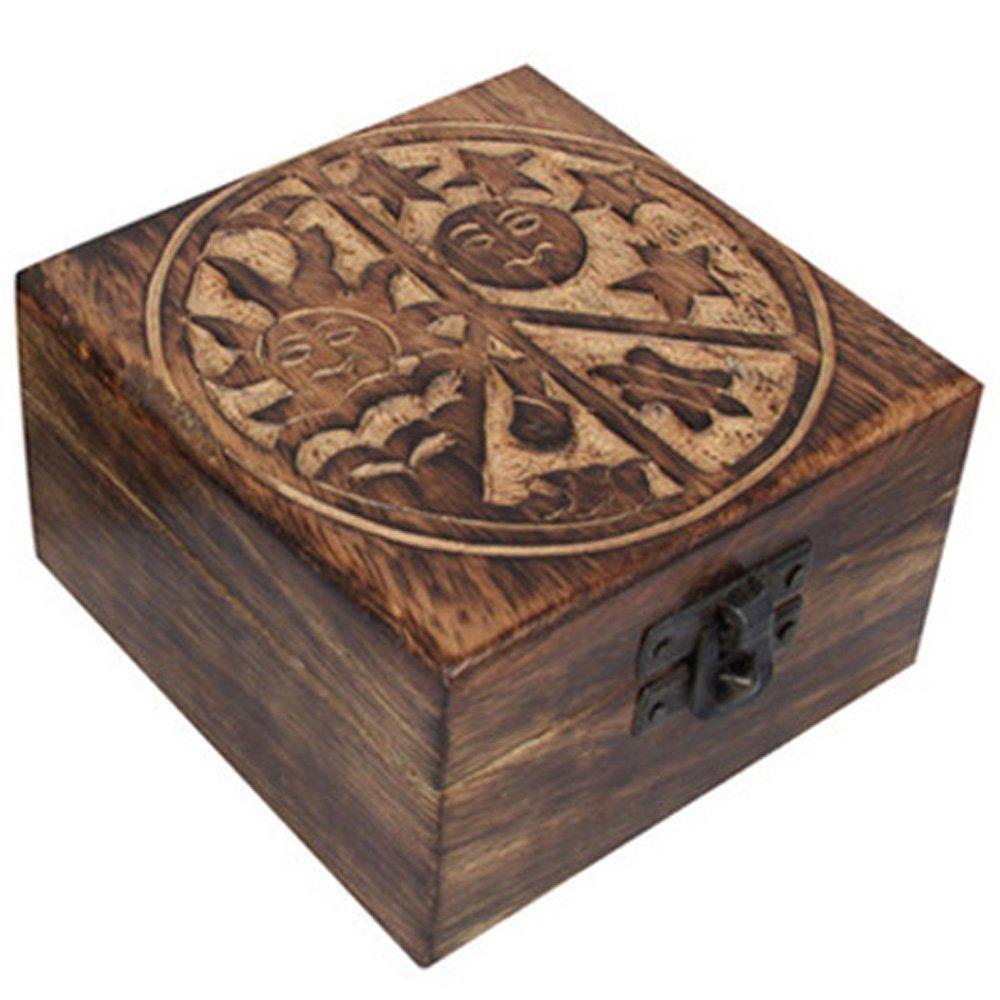 10cm Mango Wood Trinket Box, Vintage, Rustic Look, Great Gift Sun & Moon
